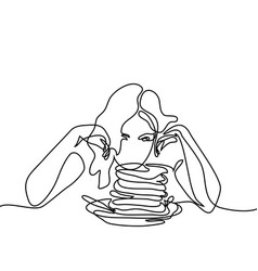 Beautiful young woman looking pancakes vector