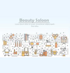 Beauty saloon advertising flat line art vector