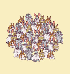 big group rabbits pets animal round composition vector image