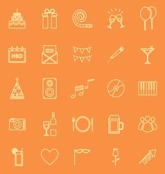 birthday line icons on orange background vector image