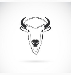 bison head design on white background wild vector image