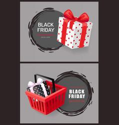 black friday round labels hot november total sale vector image