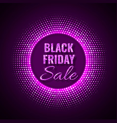 black friday sale technology background in neon vector image