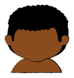 black little boy shirtless character vector image
