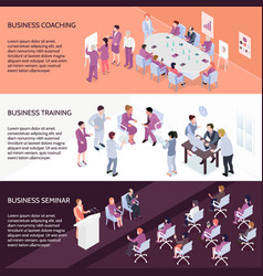 Business training horizontal isometric banners vector