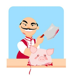 butcher - cartoon vector image