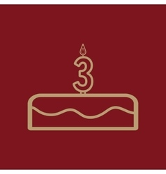 Cake with candles in the form of number 3 icon vector