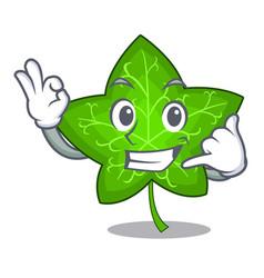 call me mascot cartoon beautiful ivy leaf plant vector image