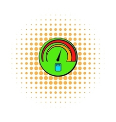 Car fuel gauge comics icon vector