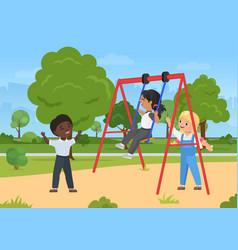 children play fun outdoor activity on playground vector image