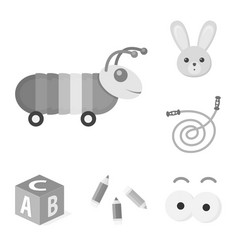 Children s toy monochrome icons in set collection vector