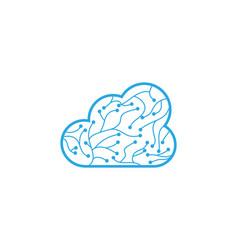 circuit cloud logo template vector image