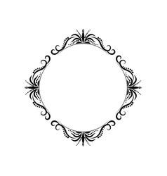 Classic black vintage round contour frame vector