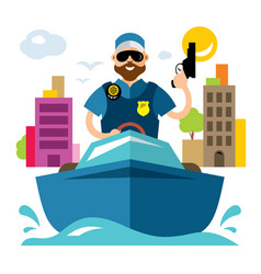 Coast guard flat style colorful cartoon vector