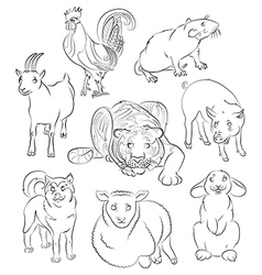 Cock dog Goat pig rabbit rat sheep tiger vector image
