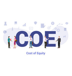 Coe cost equity concept with big word or text vector