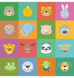 Collection of Cute Animal Faces Head Icon Set vector image