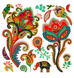 Colorful decorative elements paisley decorative vector