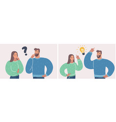 couple of man and woman having a question and idea vector image