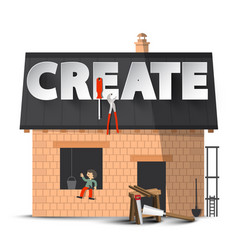create creativity diy concept with house vector image