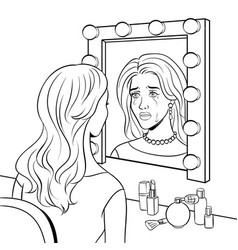 crying actress woman near mirror coloring vector image