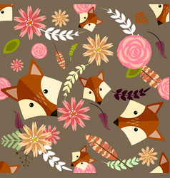 Cute cartoon seamless pattern with fox and floral vector