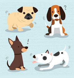 Cute dogs breed vector