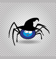 cute funny blue cartoon spider wearing witch hat vector image