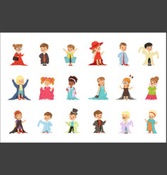 cute little kids wearing elegant adult oversized vector image