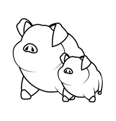 Cute pig funny piggy standing and smiling vector