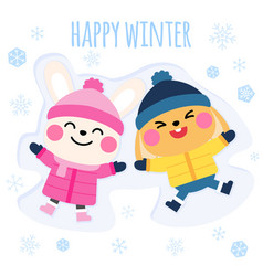cute rabbite lying in snow vector image