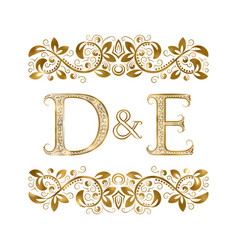 D and e vintage initials logo symbol the letters vector