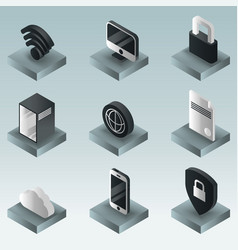 data center color gradient isometric icons vector image