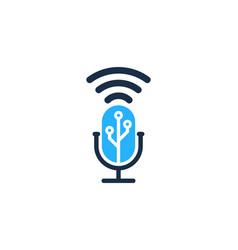 digital podcast logo icon design vector image