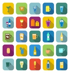 Drink color icons with long shadow vector