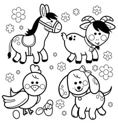 Farm animals black and white coloring book page vector