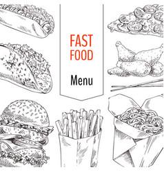 fast food menu sketches set vector image