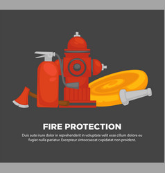Fire protection promotional poster with special vector