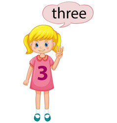 girl showing number three vector image