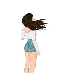 Girls wind blown hair Pretty vector