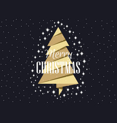 gold christmas tree with stars merry christmas vector image