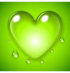 Green Waterdrop Heart vector image