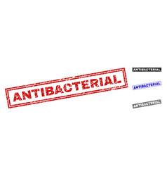 grunge antibacterial textured rectangle watermarks vector image
