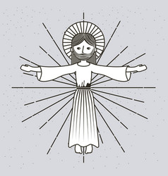 hand drawn ascension jesus christ image vector image