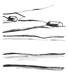 Hand drawn of fields landscape vector
