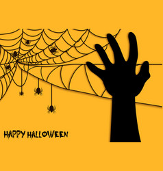 Happy halloween spider net theme silhouette hand vector