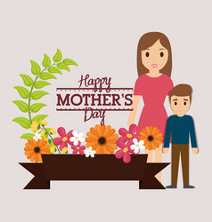 Happy mothers day mom and son with pot flowers vector