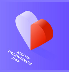 happy valentine day isometric heart made two vector image