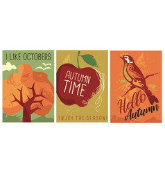 Hello autumn seasonal banners and posters collecti vector