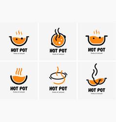 Hot pot shabu sukiyaki logo icon graphic japanese vector